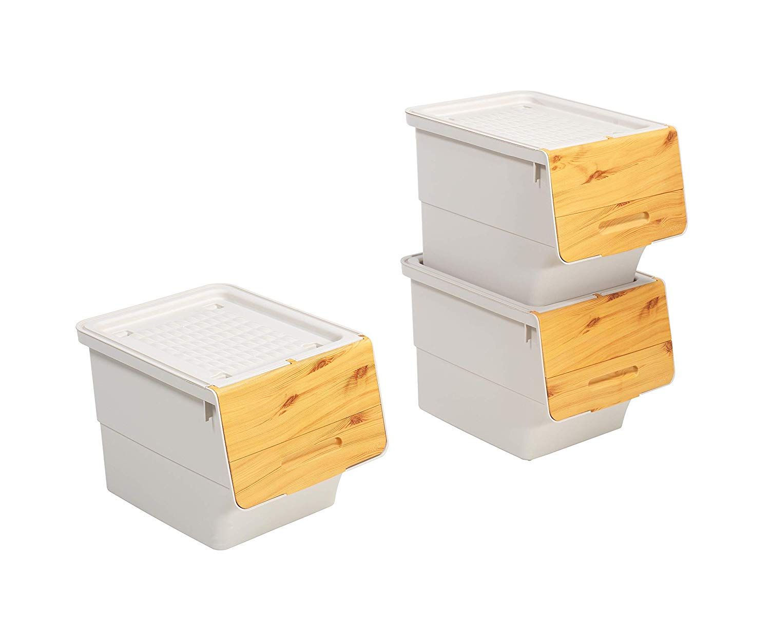 Mabel Home Storage Bins with Lid, Stackable Storage Bins ...