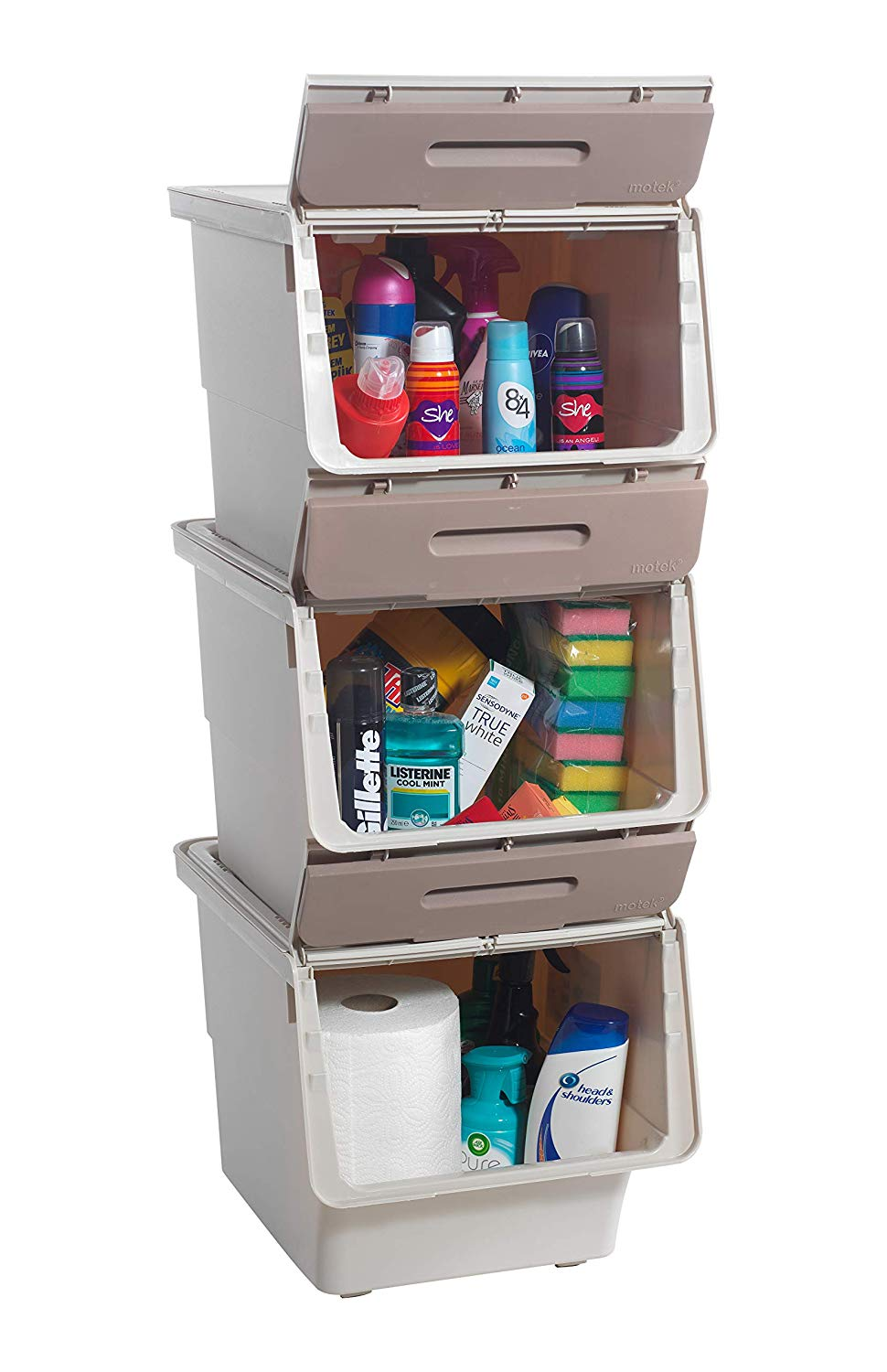 Mabel Home Storage Bins With Lid Stackable Storage Bins Set Of 3 Good For Kitchen Bathroom Garage Office 2 Size 4 Colour Extra Food Storage Container Included Brown Grey 14x18x37