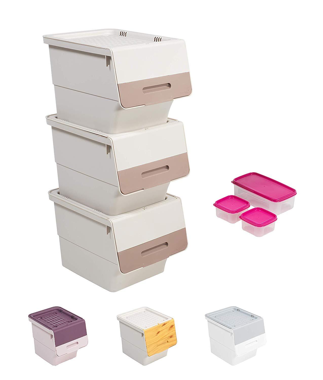 Mabel Home Storage Bins with Lid, Stackable Storage Bins ...