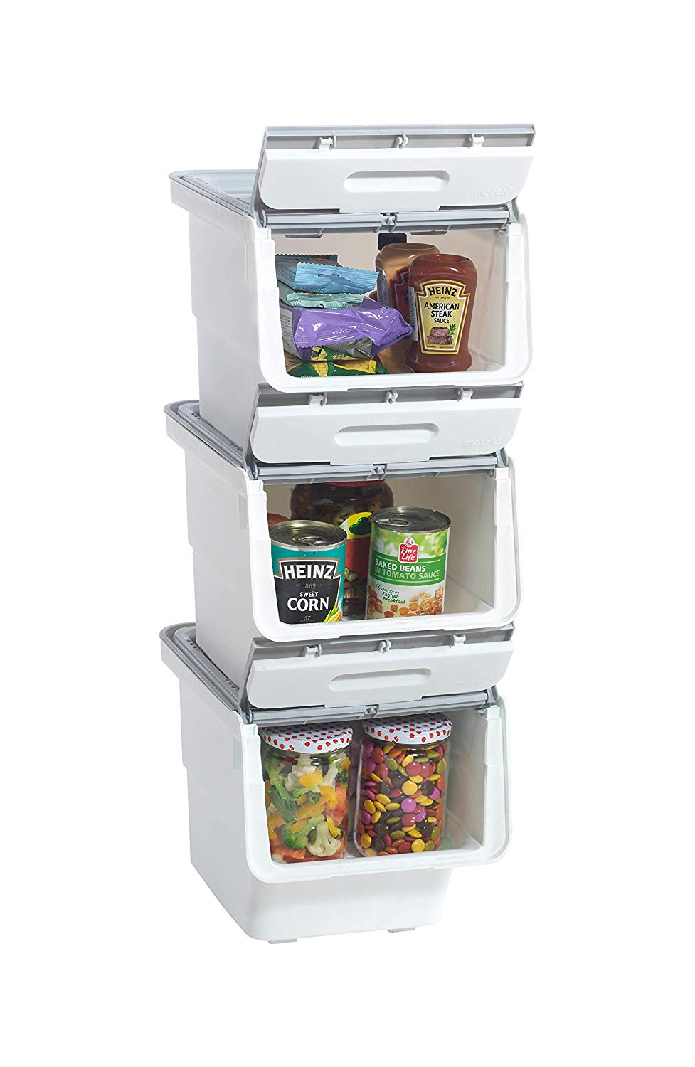 Mabel Home Storage Bins With Lid Stackable Storage Bins Set Of 3 Good For Kitchen Bathroom Garage Office 2 Size 4 Colour Extra Food Storage Container Included White Grey 14x18x37
